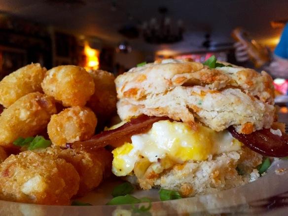 Bacon & Egg Cheddar Scallion Biscuit Sandwich