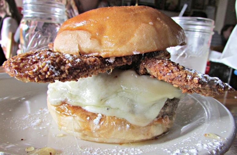 """Sugar Hill"" —Beef Patty, Pecan Crusted Bacon, Blue Cheese, Honey, Mayo, Powdered Sugar, Challah Bun, Fries or Salad ($14) Pic courtesy of @BurgerWeekly"